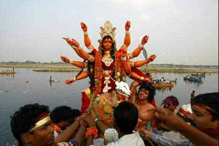 Bolo Durga mai-ki-jai (Glory be to Mother Durga) on 10th day Devi Durga returns on the river to her husband in the Himalayas