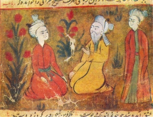 Amir Khusrow surrounded by young men. Miniature from a manuscript of Majlis Al-Usshak by Husayn Bayqarah (Wikipedia)