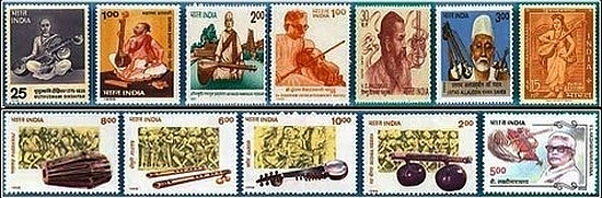 Indian-Stamps-withIndian-Classical-Music-Motives-2013-2