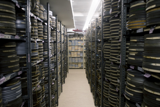 Stacks of film reels in the Department of Public Information (DPI) audiovisual archives at UN Headquarters. The Department's Audiovisual Services Section organized first-ever tours of the archives to commemorate the World Day for Audiovisual Heritage.