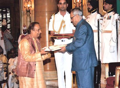 ... receiving the Sangeet Natak Academy National Award for his contribution in Indian music on 29th May 2013 at the hands of the Honorable President of India Shri Pranab Mukherjee in Delhi  (Source: Facebook)