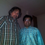 ElJay (cultural journalist, radio presenter) together with on 30th May 2014 in Hanseatic City Hamburg with Debanjan Bhattacharjee (Sarode) + Subrata Manna (Tabla)... and guest guitarist Daniel Luedke on 30th May 2014