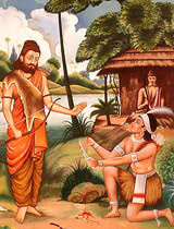 Guru Dronacharya blesses his disciple Ekalavya (source: ExoticIndianArt.com )