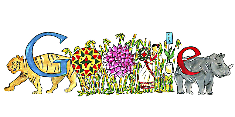 "Google India's Doole on Children's Day: Natural and Cultural Paradise - Assam (Vaidehi Reddy (Army Public School, Pune): ""I want to go to Assam because it is rich in both, natural beauty and culture. Its music and rich folk arts are also very good."")"