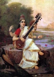 Godess Saraswati playing the Veena (Lute)