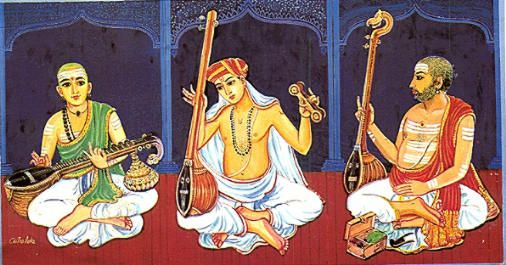 Saint Tyagaraja, Muthuswamy Dikshitar and Shyama Shastri -The Trinity of Carnatic music.